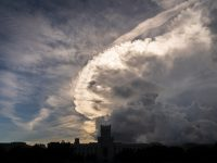 shot of roiling clouds over the citadel campus