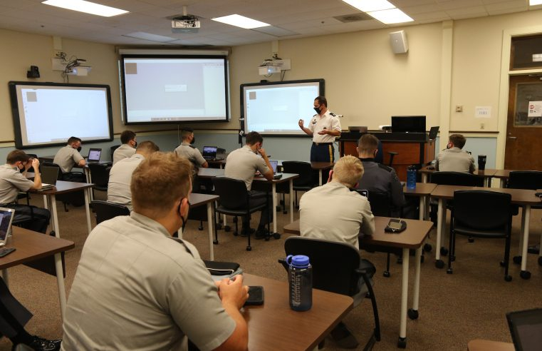 Dr. James Bezjian leads a Baker School of Business class on innovation in Bond Hall at The Citadel in Charleston, South Carolina on Tuesday, September 22, 2020. (Photo by Tom Thompson / The Citadel)