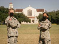 Regimental Commander Nick Piacentini and Regimental public affairs NCO Samantha Walton on Summerall Field
