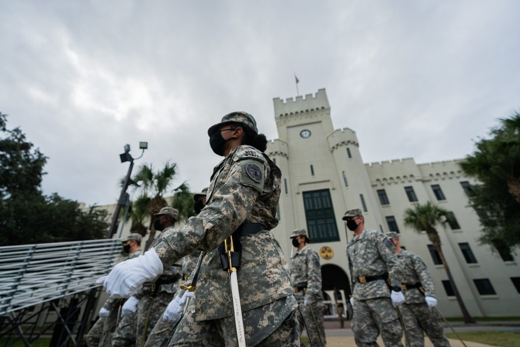 A portion of the South Carolina Corps of Cadets participates in parade practice on Summerall Field at The Citadel in Charleston, South Carolina on Thursday, November 5, 2020. (Photo by Cameron Pollack / The Citadel)