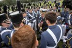 Captain Geno Paluso addressing cadets in 2018 after Homecoming military dress parade on Summerall Field at The Citadel