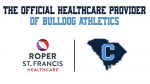 Graphic showing Roper St. Francis Logo and Citadel Athletics logo