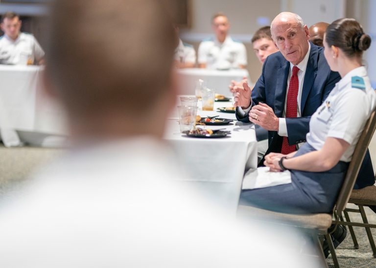 Former Director of National IntelliCyber Security Conference, Department of National Intelligence, Daniel Coat having lunch with cadets during The Citadel intelligence and Cyber Security Conference in 2018