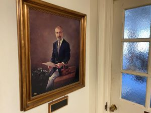 Painted portrait of Arland D. Williams Jr. Citadel Class of 1957 on The Citadel campus