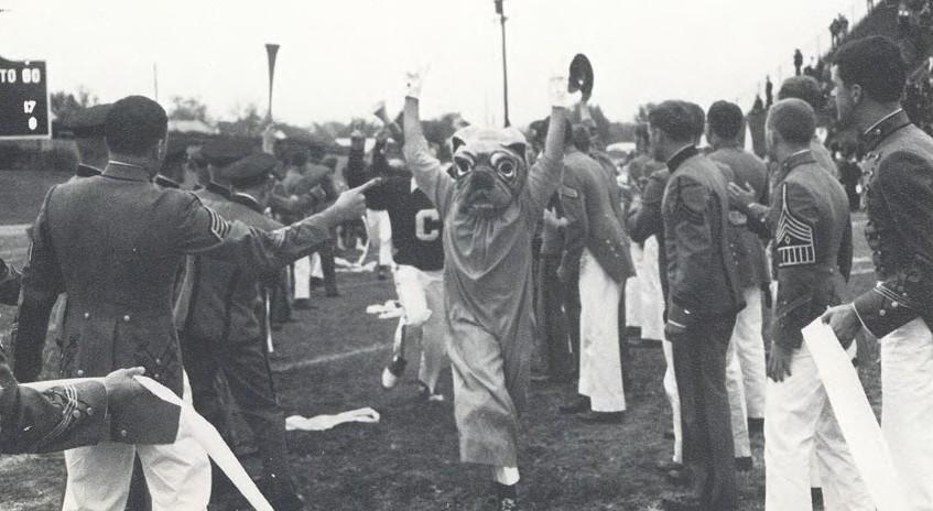 Citadel mascot costume at game in 1970