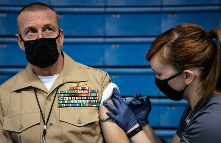 In partnership with Plantation Pharmacy, Faculty and staff are given the Johnson & Johnson Janssen coronavirus vaccine in McAlister Field House at The Citadel in Charleston, South Carolina on Wednesday, March 24, 2021. (Photo by Cameron Pollack / The Citadel)
