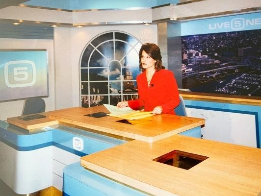 Lu Parker in the studio at WCSC-TV, Live 5, in Charleston in the late 1990s.