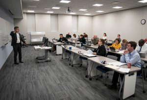 Dr. KwangSoo Lim leads a Citadel MBA course in Accounting for Executives in Bond Hall 166 at The Citadel in Charleston, South Carolina on Thursday, January 23, 2020. (Photo by Cameron Pollack / The Citadel)