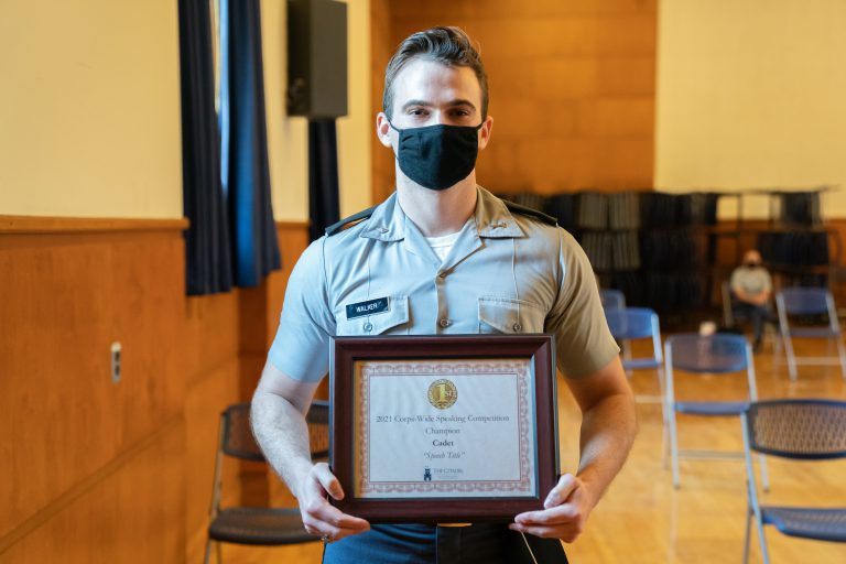Adam Walker '21 takes first place during the corps-wide speaking competition in Buyer Auditorium at The Citadel in Charleston, South Carolina on Wednesday, April 7, 2021. (Photo by Cameron Pollack / The Citadel)