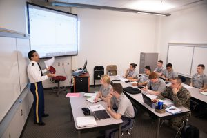 Cadets in a Computer Networks class led by Professor Shankar M. Banik in Thompson Hall at The Citadel in Charleston, South Carolina on Tuesday, February 11, 2020. (Photo by Cameron Pollack / The Citadel)