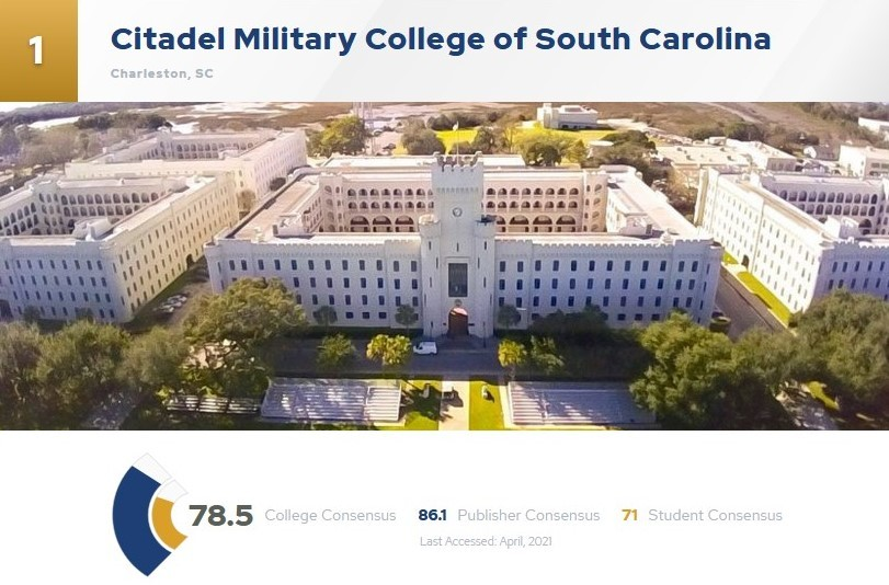 Picture of screen shot of The Citadel and its ranking on college concensus.com