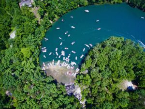 Aerial view of popular cove on Lake Keowee in South Carolina