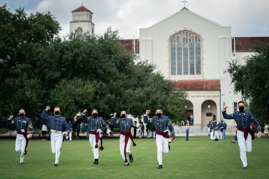 The South Carolina Corps of Cadets Class of 2021 receives their class rings during a presentation ceremony adjusted for COVID-19 conditions in McAlister Field House at The Citadel in Charleston, South Carolina on Friday, September 25, 2020. (Photo by Cameron Pollack / The Citadel)