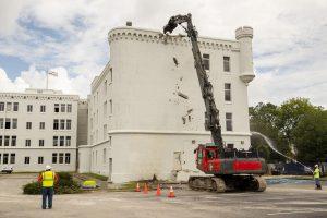 Demolition begins on The Citadel's Capers Hall on June 8, 2021. Lauren Petracca/Staff