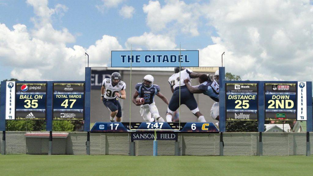 A rendering of the new scoreboard at The Citadel's Johnson Hagood Stadium. Provided