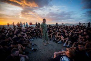 CAPT Geno Paluso speaking to Citadel cadets during a training session on Folly Beach in 2018