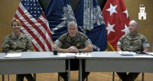 Screen shot of Citadel leadership during a virtual town hall June 29, 2021