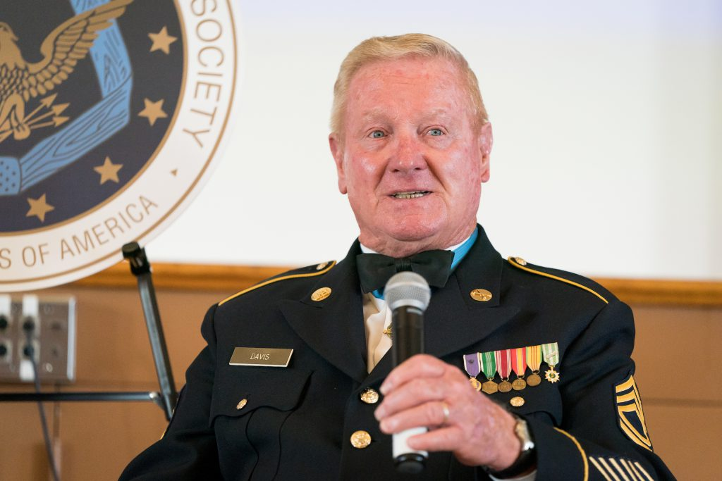 Medal of Honor recipient speaking at The Citadel