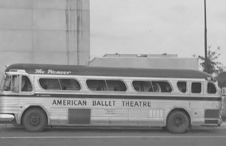 Black and white photo of American Ballet Theater tour bus