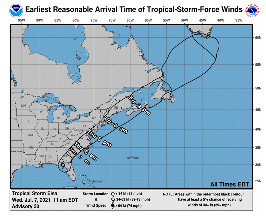NOAA map of wind impacts from tropical storm elsa
