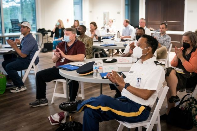 New Faculty listen to presentations at their orientation in the Swain Boating Center at The Citadel in Charleston, South Carolina on Tuesday, August 17, 2021.