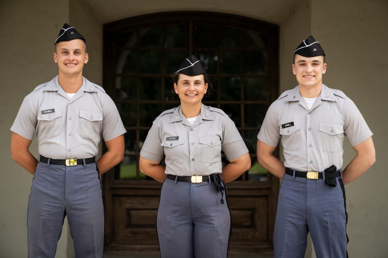 Three members of The Citadel Distinguished Scholars program in a portrait at Bond Hall