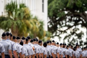 Citadel knobs walking to participate in Oath ceremony 2021