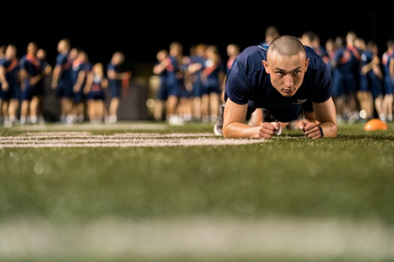 5th Battalion cadets take their cadet physical fitness test on Willson Field at The Citadel in Charleston, South Carolina on Thursday, September 16, 2021.