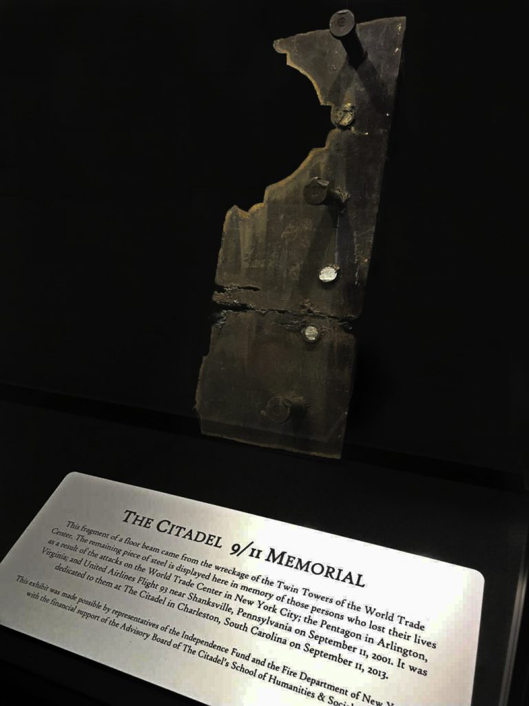 Remnant of the Twin Towers kept at The Citadel. Photo by Kevin Free.