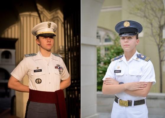 Cadet commanders, Kathryn Christmas, The Citadel, and Kasey Meredith, VMI