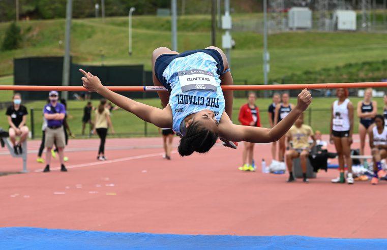 Cadet Mya Dollard on the high jump