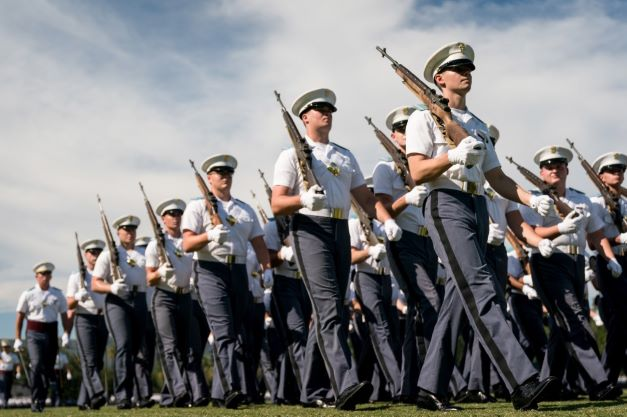 Citadel cadets marching in military dress parade on campus in Sept. 2021