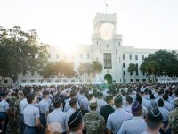 South Carolina Corps of Cadets gathered on Summerall Field for the closing ceremony from The Citadel Class of 1979 Leadership Day