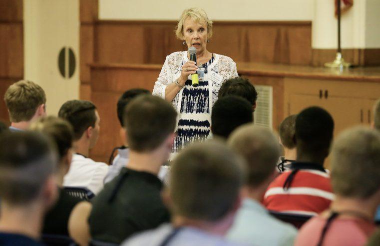 Professor Chris Fudge addressing incoming freshmen during The Citadel Summer Success Institute in August 2021